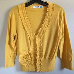 Anthropologie Sparrow Whirl & Wind Yellow Cardigan